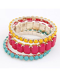 Estate Plum Red Oblong Shape Bead Korean Fashion Bracelet