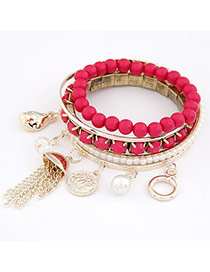 Packaging Red Pearl Multilayer Alloy Fashion Bangles
