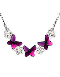Waist Purple Flowery Dancing Butterflies Crystal Crystal Necklaces