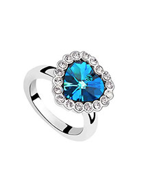 Fashion Blue Square Shape Diamond Decorated Hollow Out Design Ring