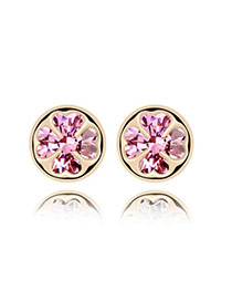 Current Pink Earrings Alloy Crystal Earrings