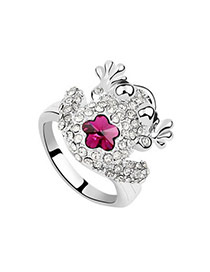 Promotiona Plum Red Rings Alloy Crystal Rings