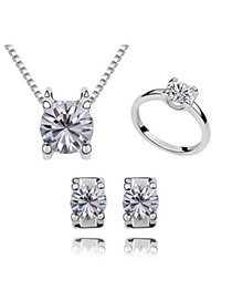 Wishbone Purple Zircon Necklace Studs Earring Ring Jewelry Set Alloy Crystal Sets