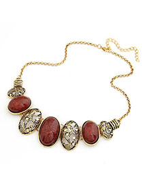Wrap Coffee Hollow Out Oval Pendant Alloy Bib Necklaces