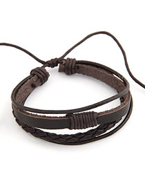 New fashion national style pu leather multilayer design bracelet (Coffee)