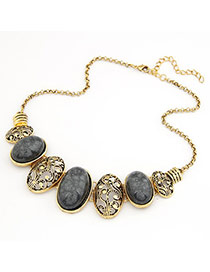 Bendable Gray Hollow Out Oval Shape Alloy Bib Necklaces