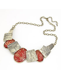 Pendant Claret-Red Classic Pattern Pendant Alloy Bib Necklaces
