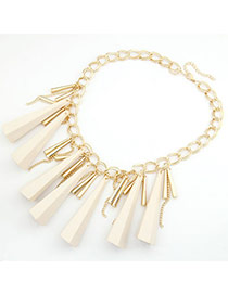 Healing White Taper Rivet Pendant Alloy Korean Necklaces