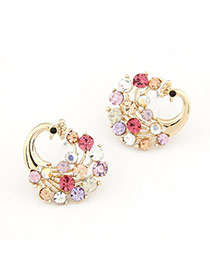 Korean exquisite sweet fashion peacock shape decorated with CZ diamond studs earrings