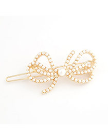 Elegant Antique Golden Leaf Shape Decorated Simple Design Alloy Hair clip hair claw