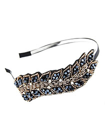 Korean exquisite sweet handmade fashion bead charm hair band hair accessories (Sapphire Blue)