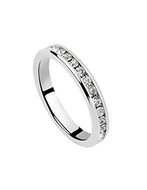 Fashion Silver Color Oval Shape Diamond Decorated Heart Shape Design Ring