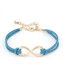 Bohemia Light Blue Owl&brid Decoprated Simple Multilayer Bracelet