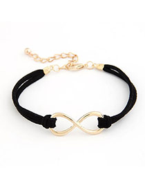 Pretty Black Beads Decorated Rose Shape Multilayer Design  Acrylic Korean Fashion Bracelet