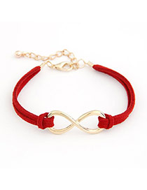 Fashion Red Geometric Gemstone Decorated Multi-layer Simple Bracelet