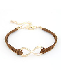 Fashion Coffee+gold Color Rivet&buckle Decorated Multi-layer Pure Color Bracelet