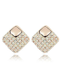 Faddish AB Color White Earrings Alloy Crystal Earrings