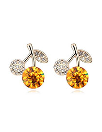 Discount Yellow+Champaign Gold Yellow Earrings Alloy Crystal Earrings