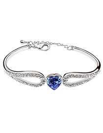 Pretty Navy Blue Diamond Decorated Simple Design Alloy Crystal Bracelets