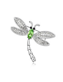 Highwaist olive Green Brooch Alloy Crystal Brooches