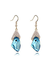 Wedding Sea Blue+Champaign Gold Blue Earrings Alloy Crystal Earrings