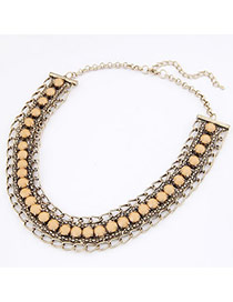 Hooters ChampagneChampagne Imitate Gemstone Design Alloy Bib Necklaces