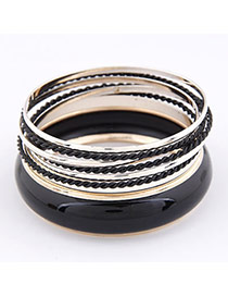 Ruffled Black Multilayer Alloy Fashion Bangles
