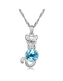 Chiropract sea Blue Lovely Cat Crystal Crystal Necklaces