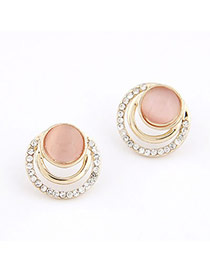 Order Pink Sweet Imitate Cymophane Design Alloy Stud Earrings