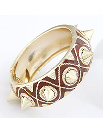Coral Brown Rivet Alloy Fashion Bangles