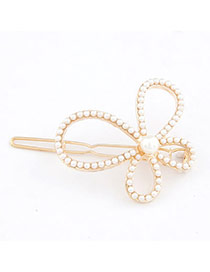 Trendy Gray Pearl&diamond Decorated Bowknot Shape Hair Pin