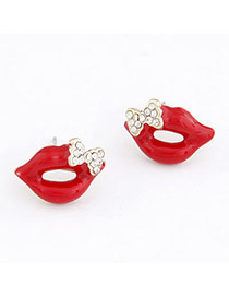 Barbie Red Lip Decorated With Cz Diamond Alloy Stud Earrings