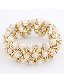 Layered White Turquoise Alloy Fashion Bangles