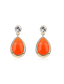 Splendid Orange Earrings Alloy Crystal Earrings