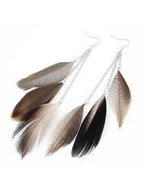 Cute Anti-silver Bead Decorated Simple Fan Shape Earring