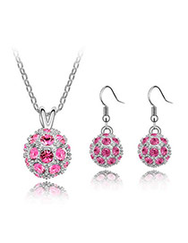 Fake Plum Red Set-Delicately Prettyr Alloy Crystal Sets