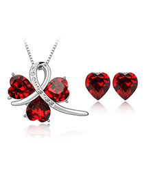 Pretty Red Set-Happiness Alloy Crystal Sets