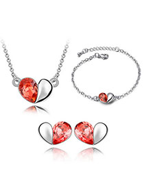 Single Padparadscha Jewelry Set-Magic Words Alloy Crystal Sets
