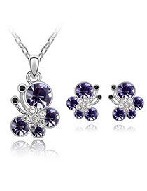 Maxi pale pinkish purple Set-Butterfly Dancing Alloy Crystal Sets