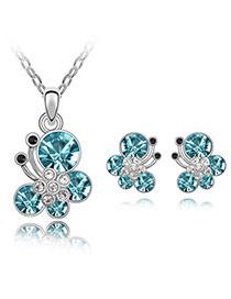Newborn Sea Blue Set-Butterfly Dancing Alloy Crystal Sets