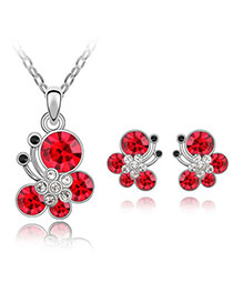 Rubber Red Set-Butterfly Dancing Alloy Crystal Sets