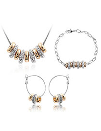 Friendly Gold Color Set-String Of Happiness Alloy Crystal Sets