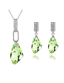 Womens Olive Set-Bright Moon Breeze Alloy Crystal Sets