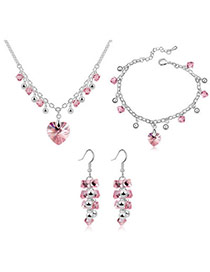 Posh light plum red Set-Charming Alloy Crystal Sets