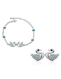 Moving Sea Blue Set-Swan Alloy Crystal Sets