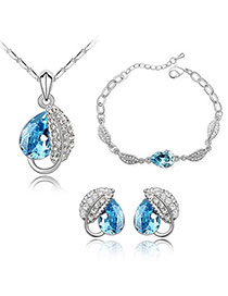 Korean Sea Blue Leaf Alloy Crystal Sets