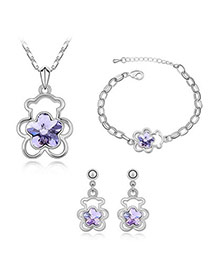 Smart Violet Set-Teddy Bear Alloy Crystal Sets