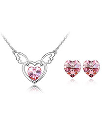 Rosary light plum red Set-Heart Angel Alloy Crystal Sets