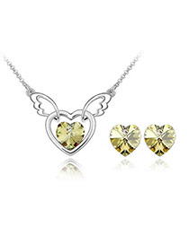 Short Yellow Set-Heart Angel Alloy Crystal Sets