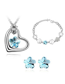Charming Sea Blue Set-Romantic Sakura Alloy Crystal Sets